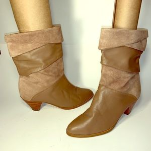 Pr of Sz 7-7.5 Tan Leather & Suede Cuffed Boots